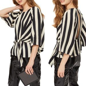 Topshop Black Humbug Striped Slouch Knot Blouse